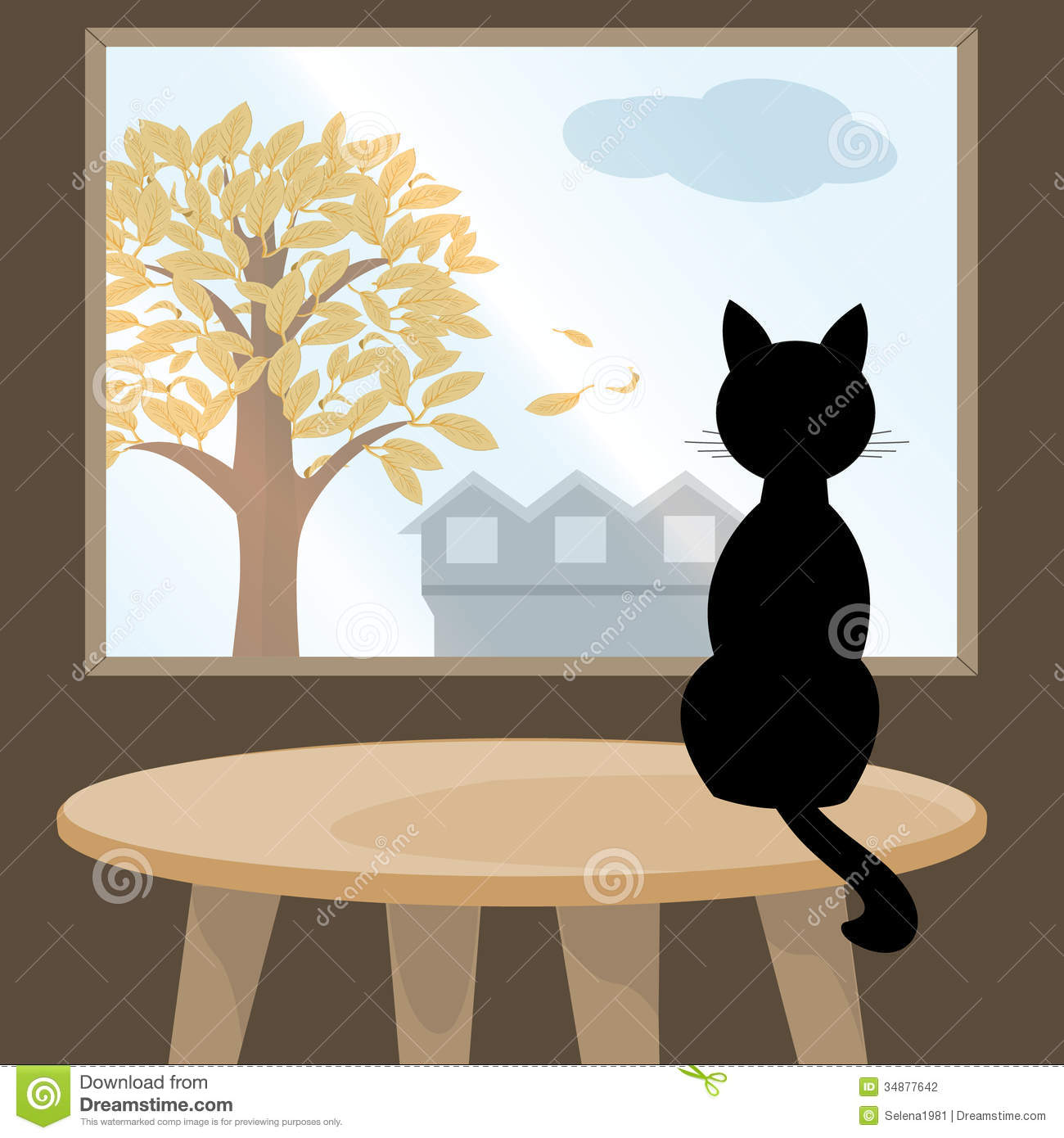 Cat On The Table Clipart.
