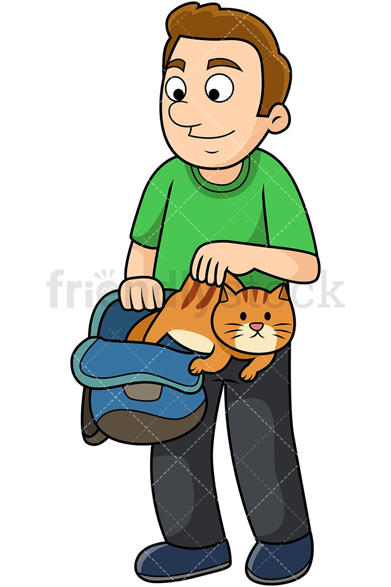 Young Man Letting Cat Out Of The Bag.