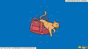 Clipart: Let The Cat Out Of The Bag on a Solid Spanish Blue 016Fb9  Background.