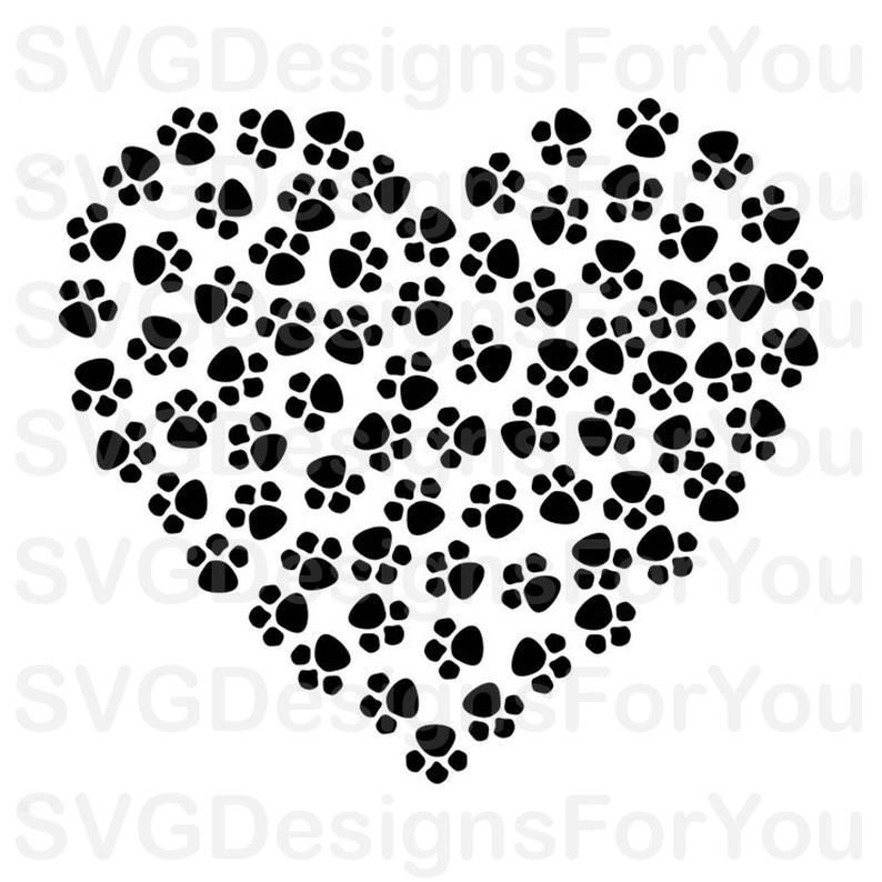 Paws Print Heart SVG Bundle, Paw Prints Clip Art, Cat Paw Valentine Heart  Decal, For Cricut & Silhouette.