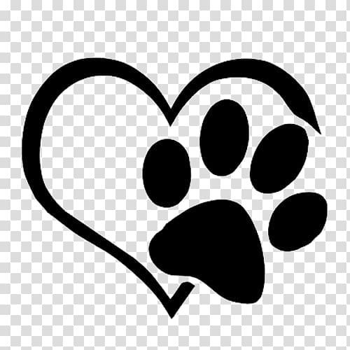 White heart and footprint illustration, Dog Cat Paw Decal Sticker.