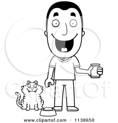 Cartoon Clipart Of An Outlined Happy Man Feeding His Cat.
