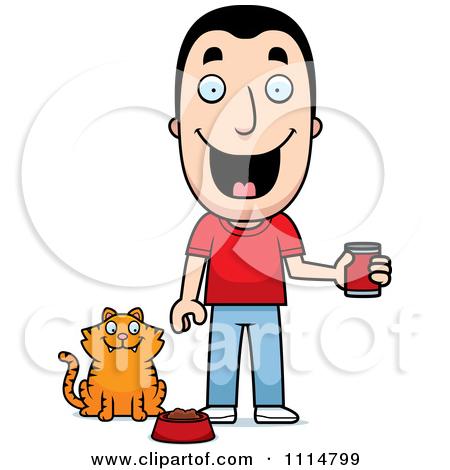 Clipart Happy Man Feeding His Cat.
