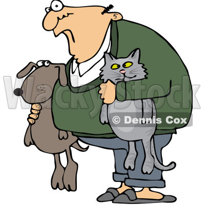 Dog holding cat clipart.