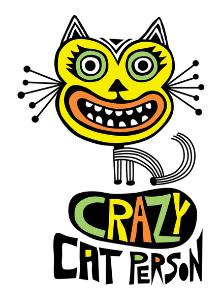 Crazy Cat Person Art Print by Andi Bird.