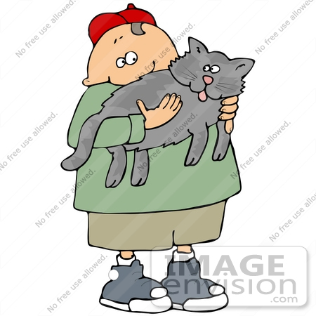 Clip Art Graphic of a Happy Boy Carrying His Cat.