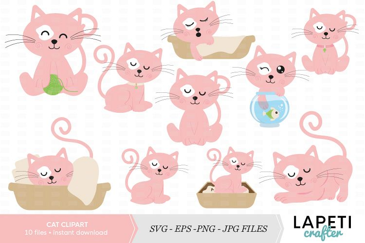 Cat clipart, cat clip art printable, cute pink cat clip art.