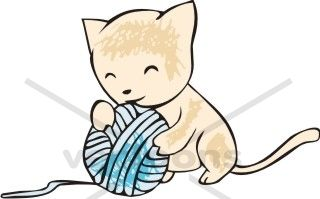 Kitten Playing with Ball of Yarn.