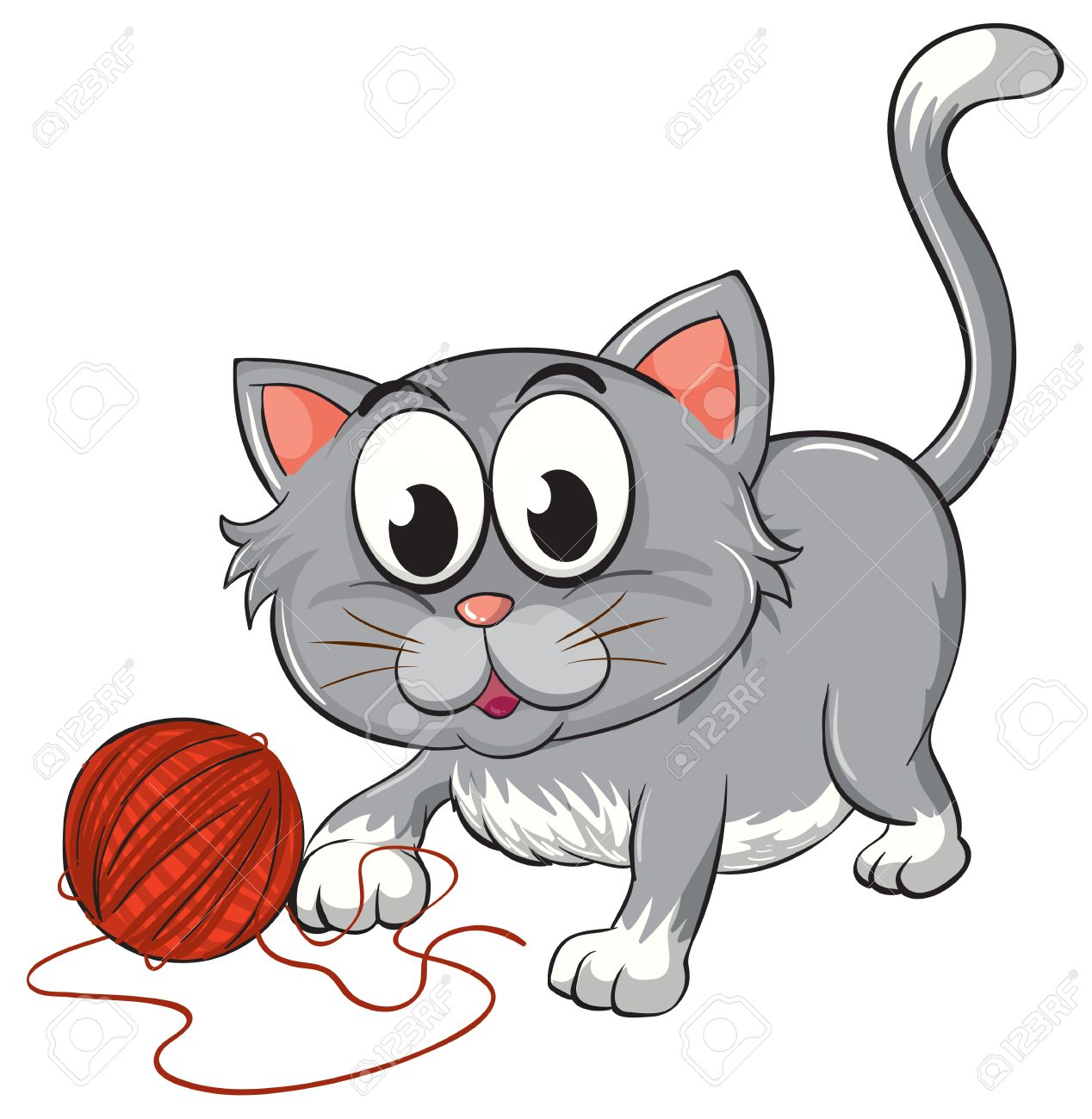 Cat With Yarn Clipart.