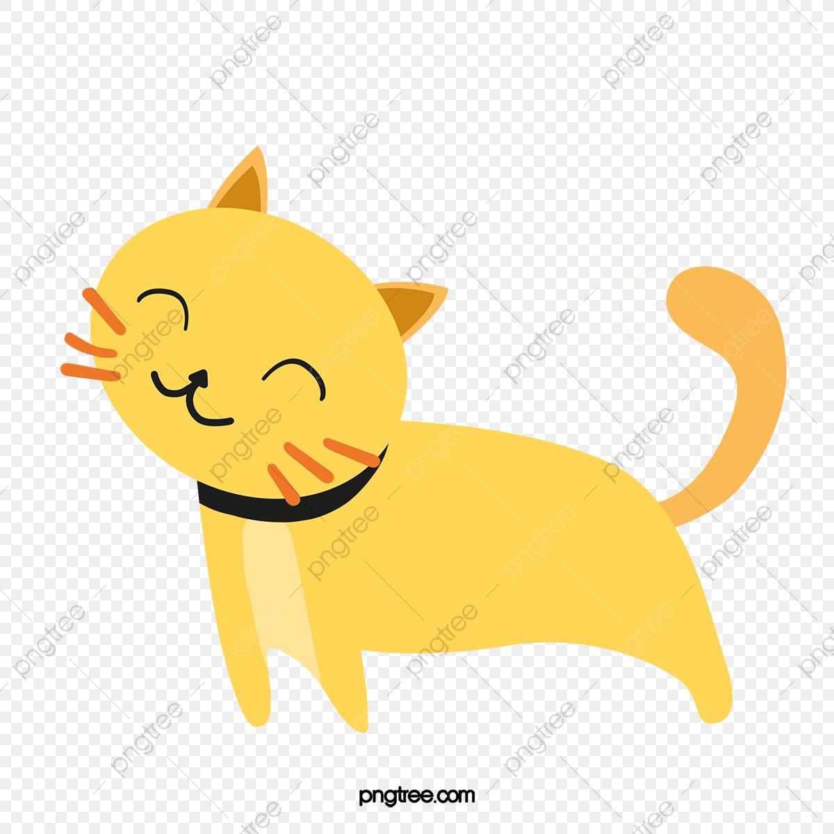Lazy Cat, Cat Clipart, Yellow, Cartoon PNG Transparent Clipart Image.