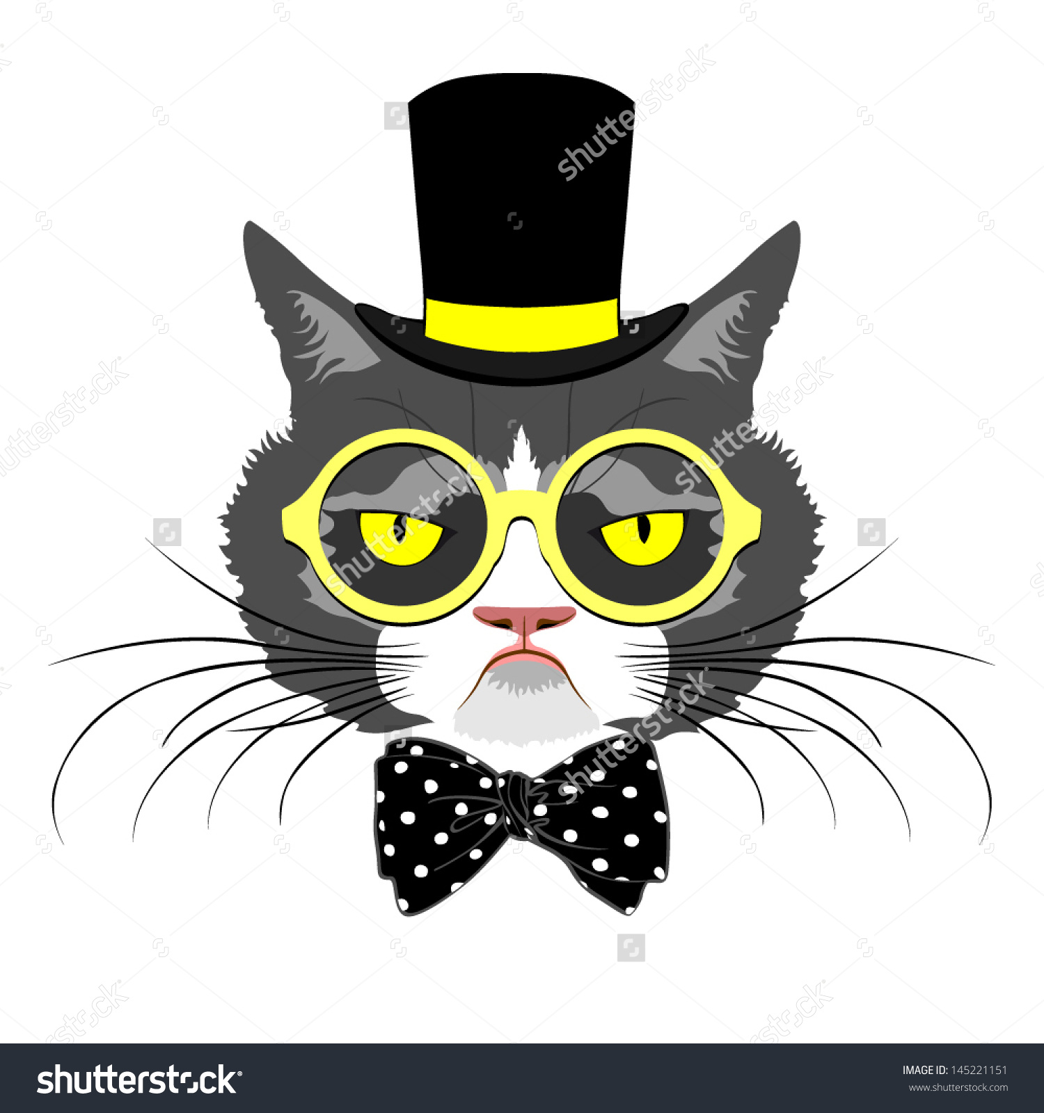 Vector Animal Portrait Cat Tall Hat Stock Vector 145221151.