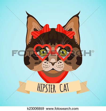 Clip Art of Hipster cat portrait k23006859.