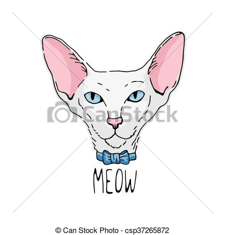 Vectors Illustration of Oriental cat portrait.