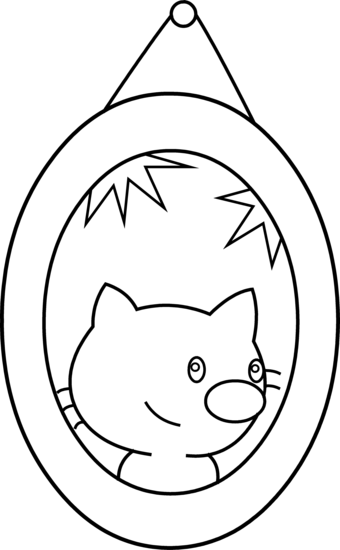 Cute Cat Portrait Coloring Page.