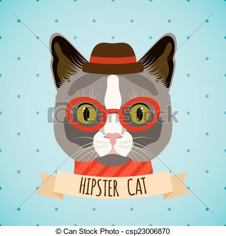 Vectors Illustration of Hipster cat portrait.