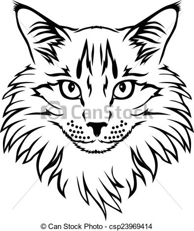 Vector Clip Art of Contour cat portrait.