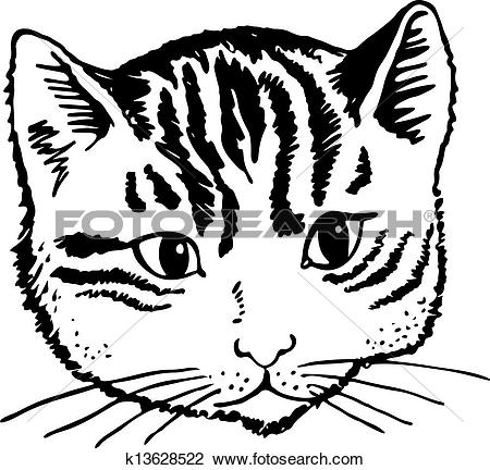 Clip Art of Cat Portrait k13628522.
