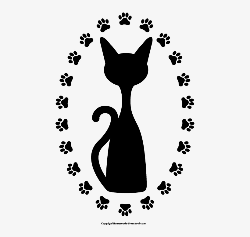 Free Paw Prints Clipart Clip Art Black And White Stock.