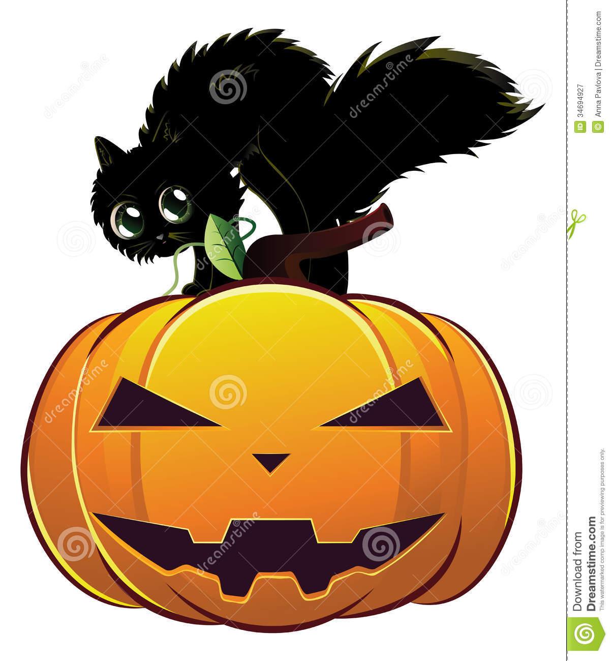 Black Cat On Pumpkin Royalty Free Stock Photography.