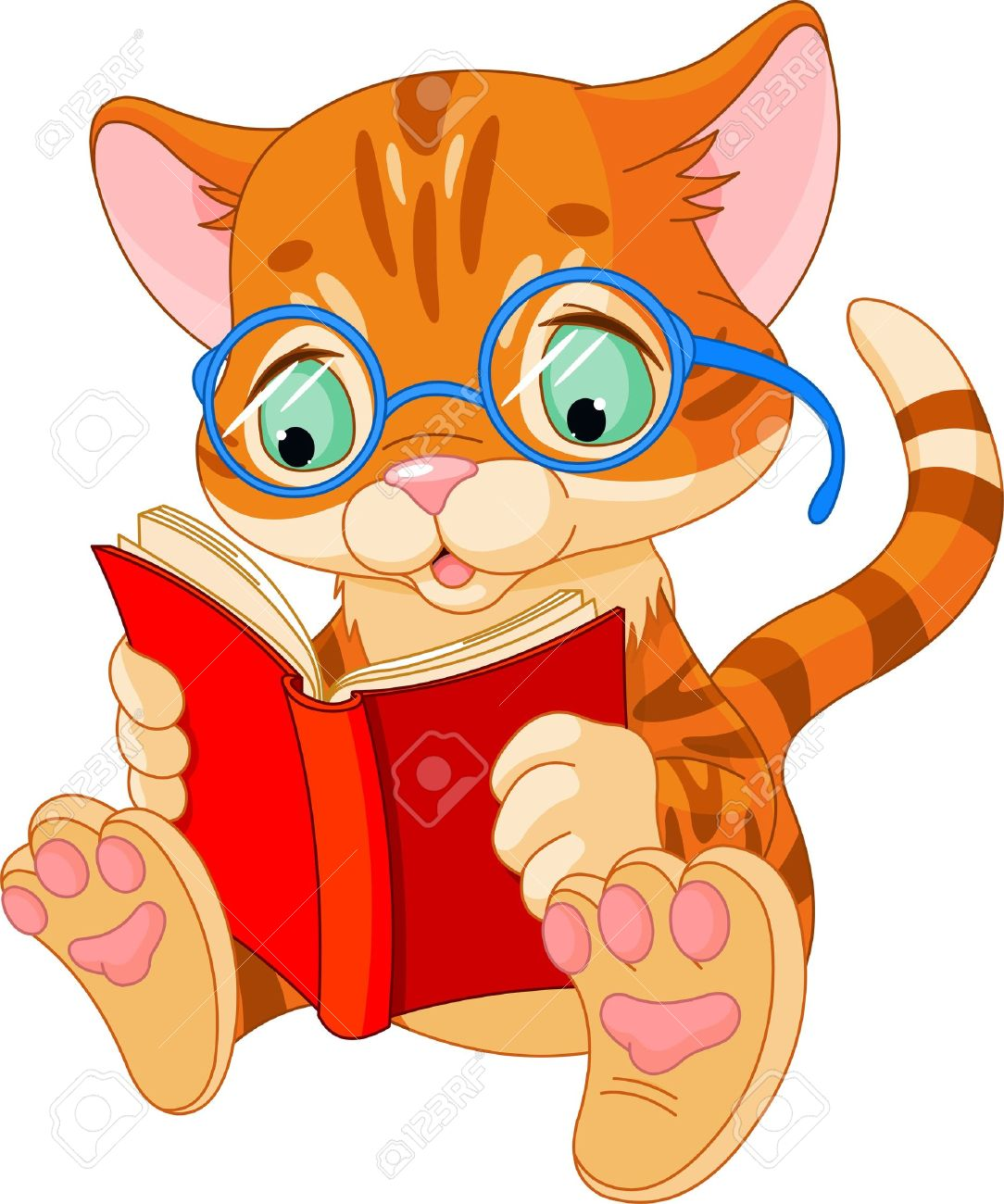 Cat Reading A Book Clipart.