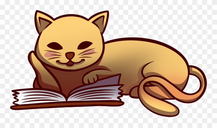 Cat Reading Book.