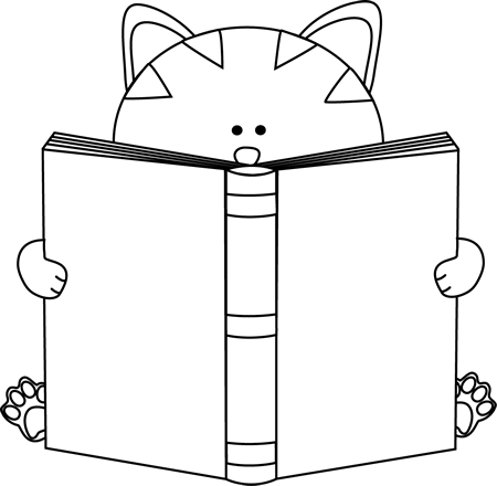 Download Black And White Cat Reading A Book Clip Art.