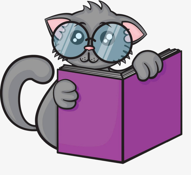 Download Free png Cat Reading, Cat Clipart, Reading Clipart.