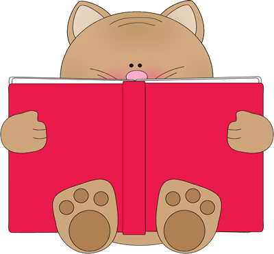 Cat Reading Book Clip Art.