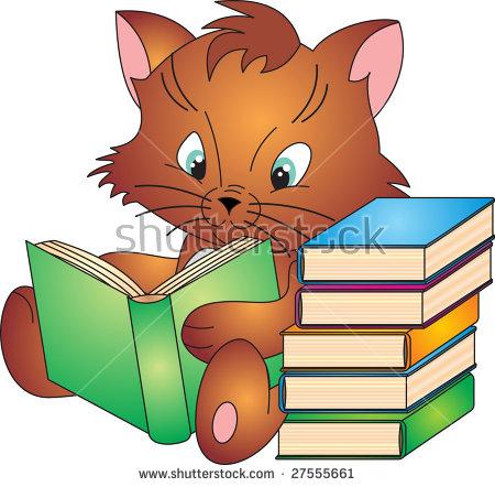 Cat Reading Stock Vector 217191217.