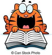 Clipart Vector of Cat Reading.