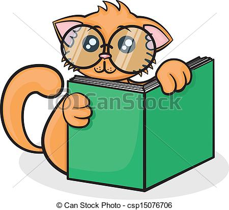 Vector Clipart of little funny cartoon cat with big glasses reads.