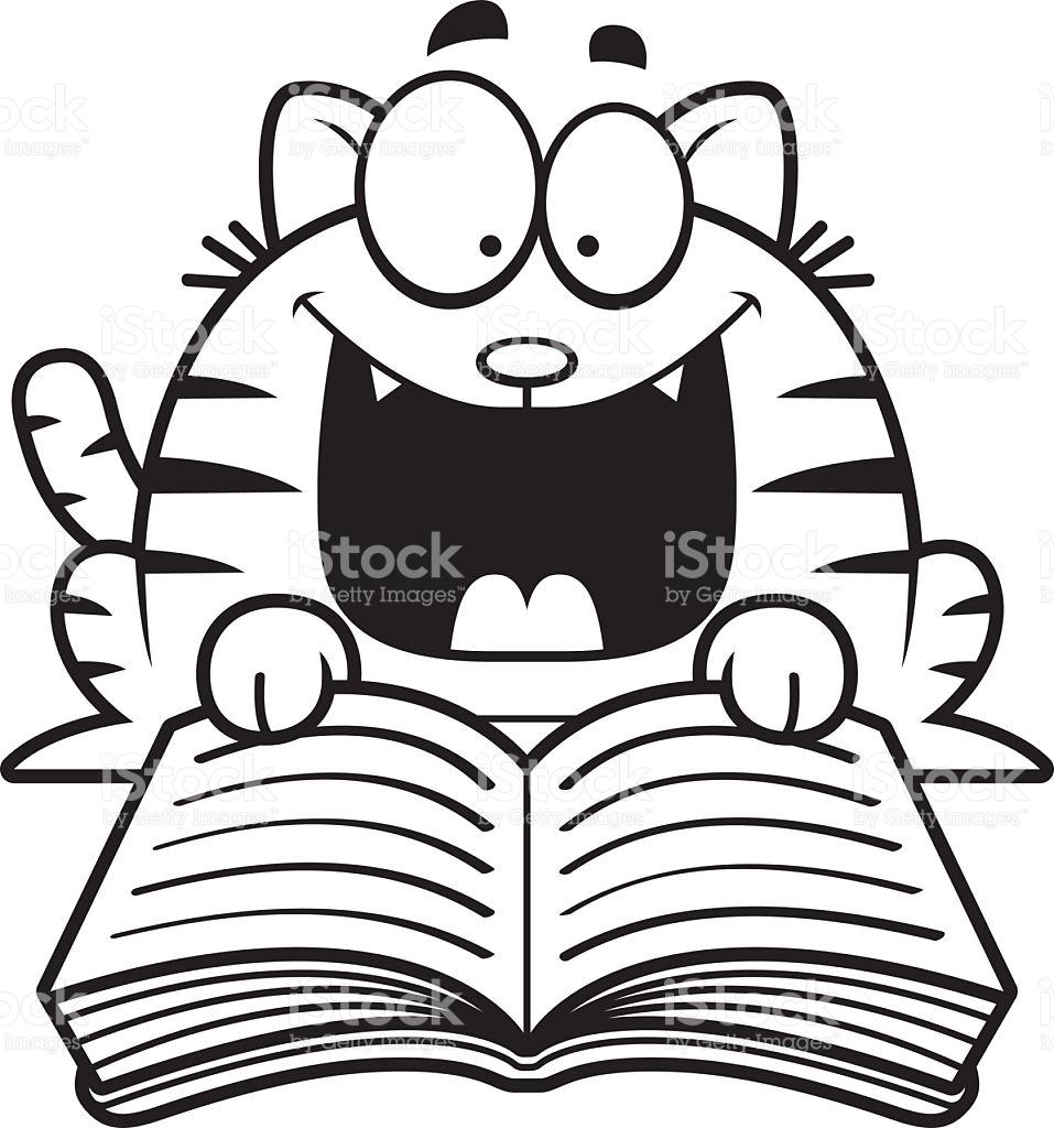 Cartoon Cat Reading stock vector art 527585663.