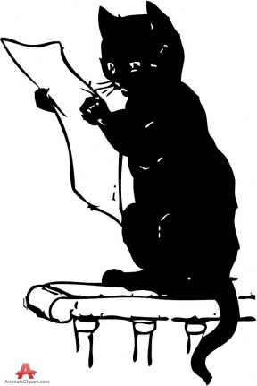 Reading Book Black And White Clipart.