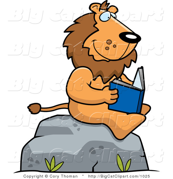 Big Cat Vector Clipart of a Lion Reading Outdoors by Cory Thoman.