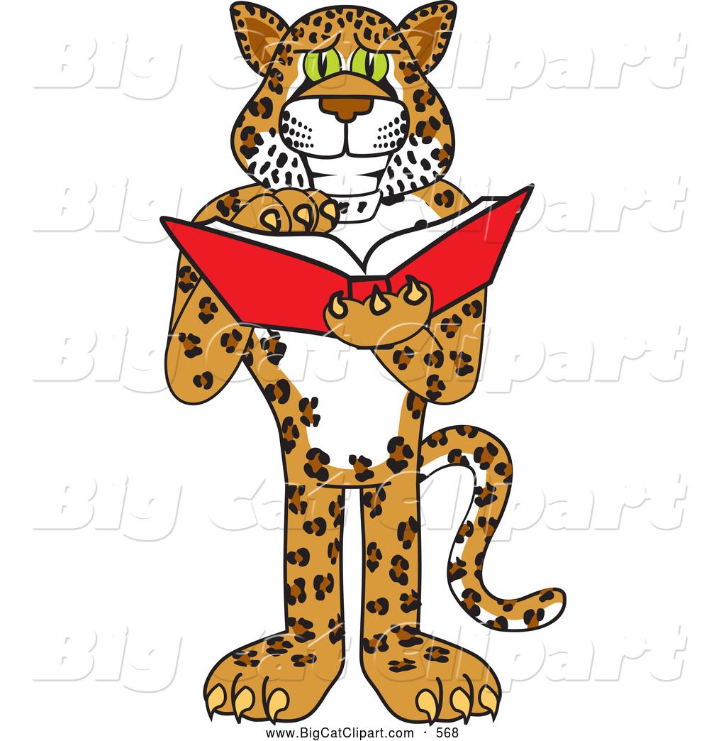 Big Cat Cartoon Vector Clipart of a Happy Cheetah, Jaguar or.