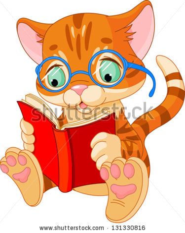 Cat Reading Stock Images, Royalty.