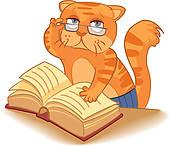 cat reading clipart #13