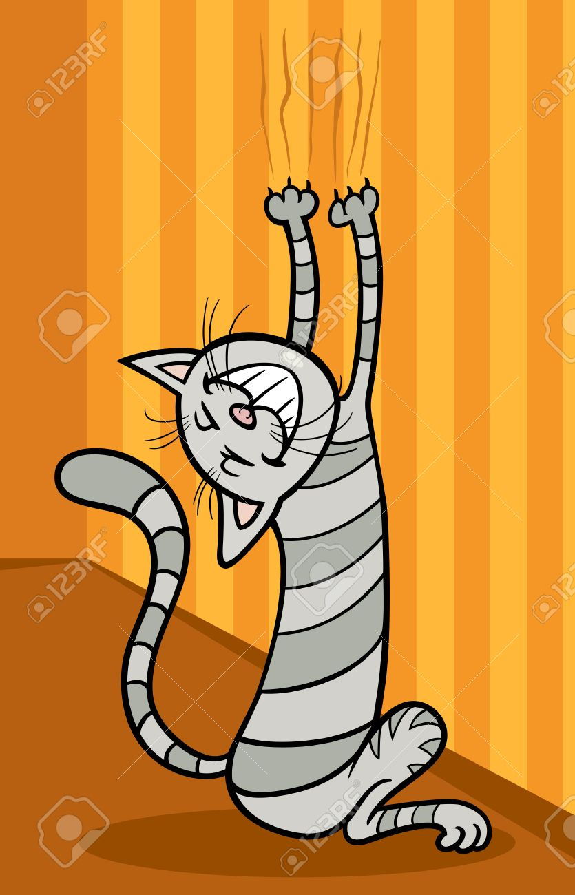 Cartoon Illustration Of Funny Tabby Cat Scratching The Wall.