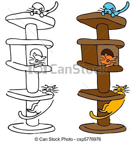 Clip Art Vector of Cat Scratching Post.