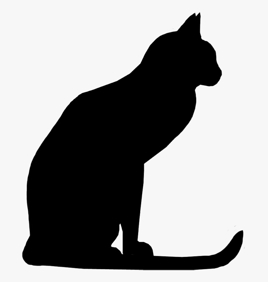 Attentive Cat Silhouette, Cat With Long Tail Silhouette.