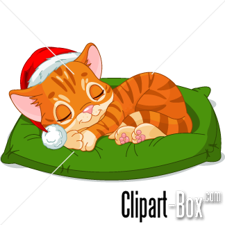 CLIPART CHRISTMAS SLEEPING CAT.