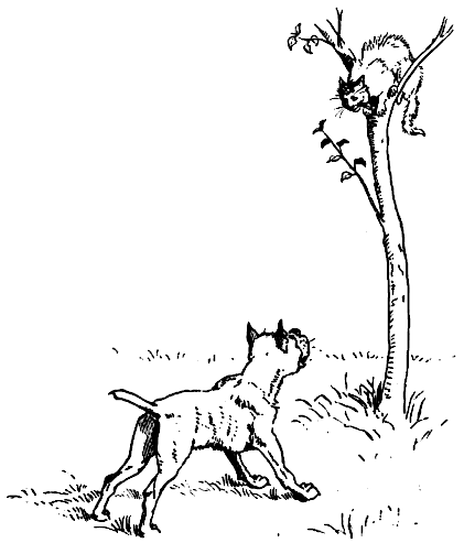 Two cats running up a tree clipart.