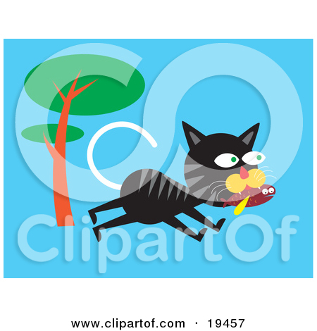 Clipart Illustration of a Black Cat With Gray Stripes Leaping Up A.