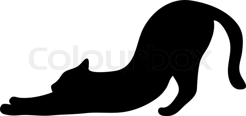 Cat Stretching Silhouette.