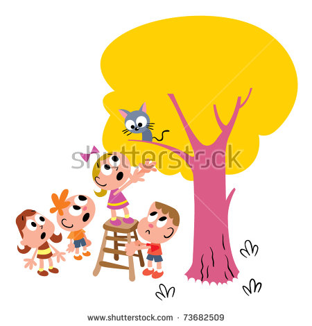 Cat Stuck In Tree Stock Images, Royalty.