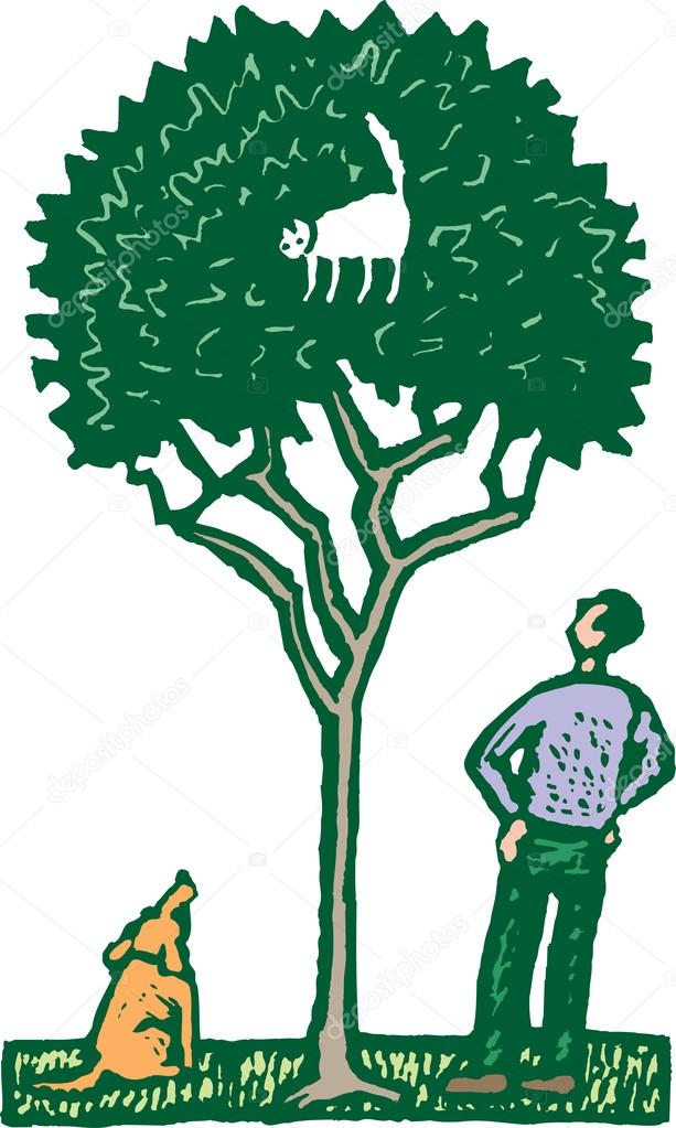Woodcut Illustration of Cat Stuck in a Tree — Stock Vector.