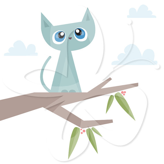 Cat Stuck in a Tree Clip Art Clipart Set by CollectiveCreation.