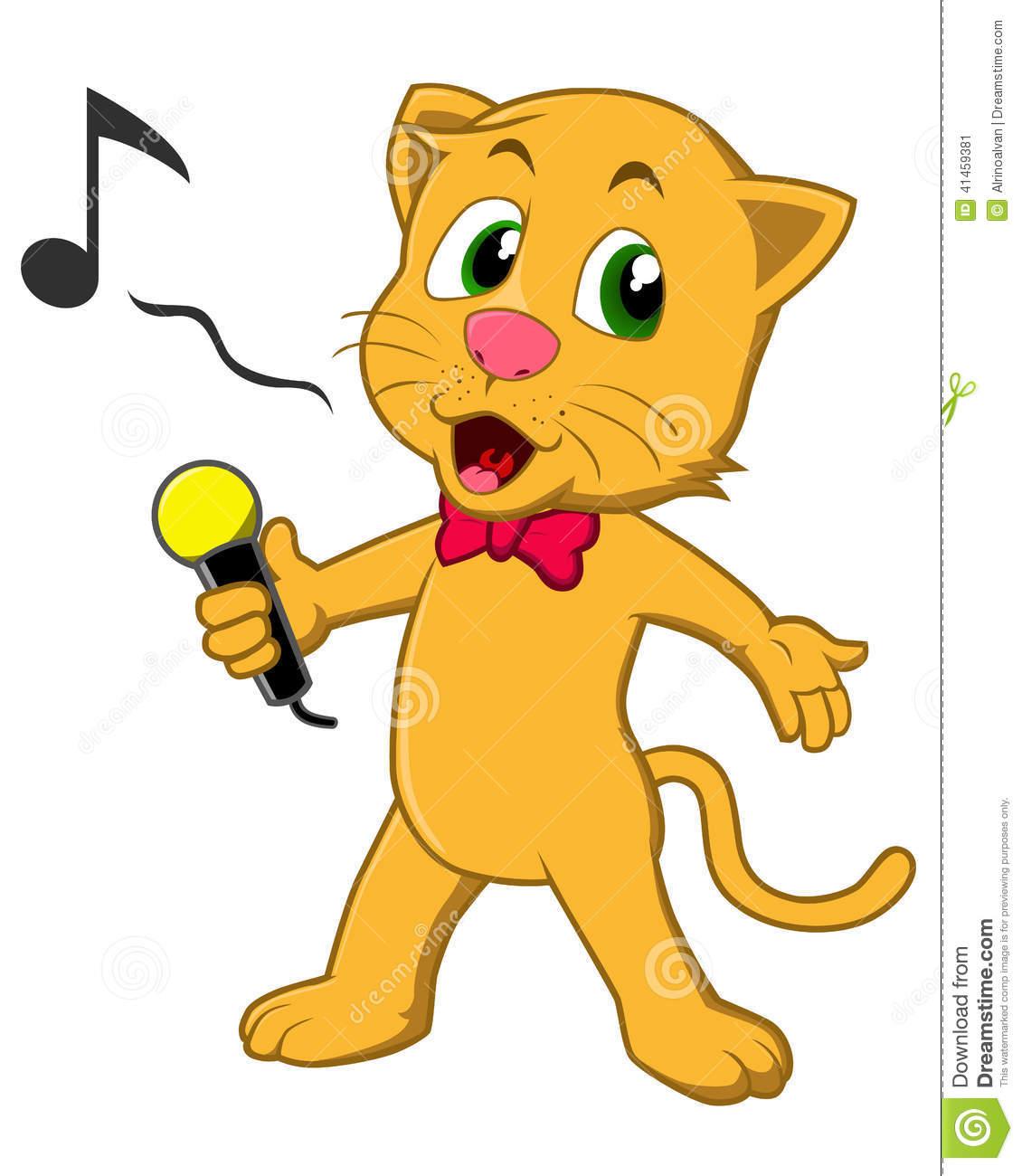 Singing Cat Stock Vector.
