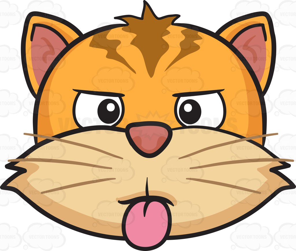 A Cat Sticking Out Its Tongue Cartoon Clipart.