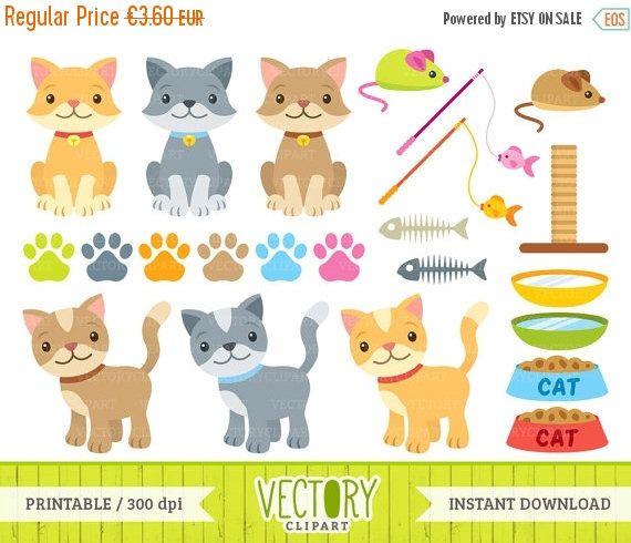 SALE 40%OFF Cat Clipart Set of 23 Pet Clipart Cat Toys Cat.